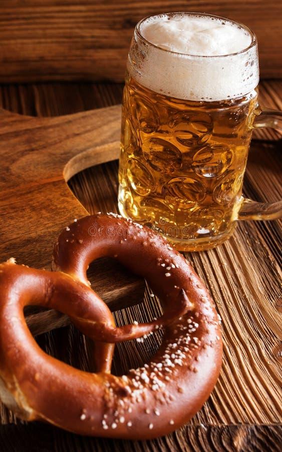 Bavarian beer and salt pretzel royalty free stock photos