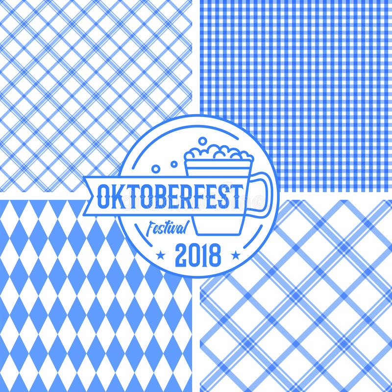 Bavarian blue pattern collection with geometric lines, rhombus and squares. Vector illustration. With thin line Oktoberfest festival beer mug sign or badge vector illustration