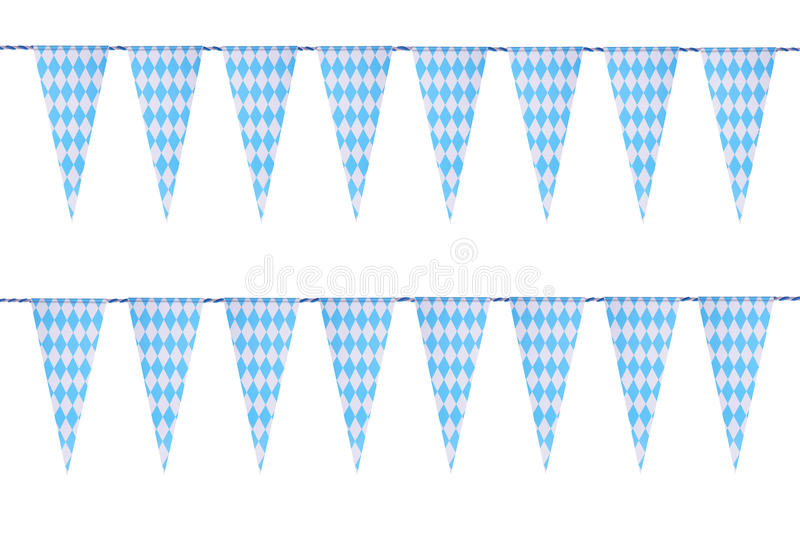 Bavarian bunting festoon. Original Bavarian bunting festoon from Germany with diamond pattern. Classic beer tent decoration. Isolated on white vector illustration