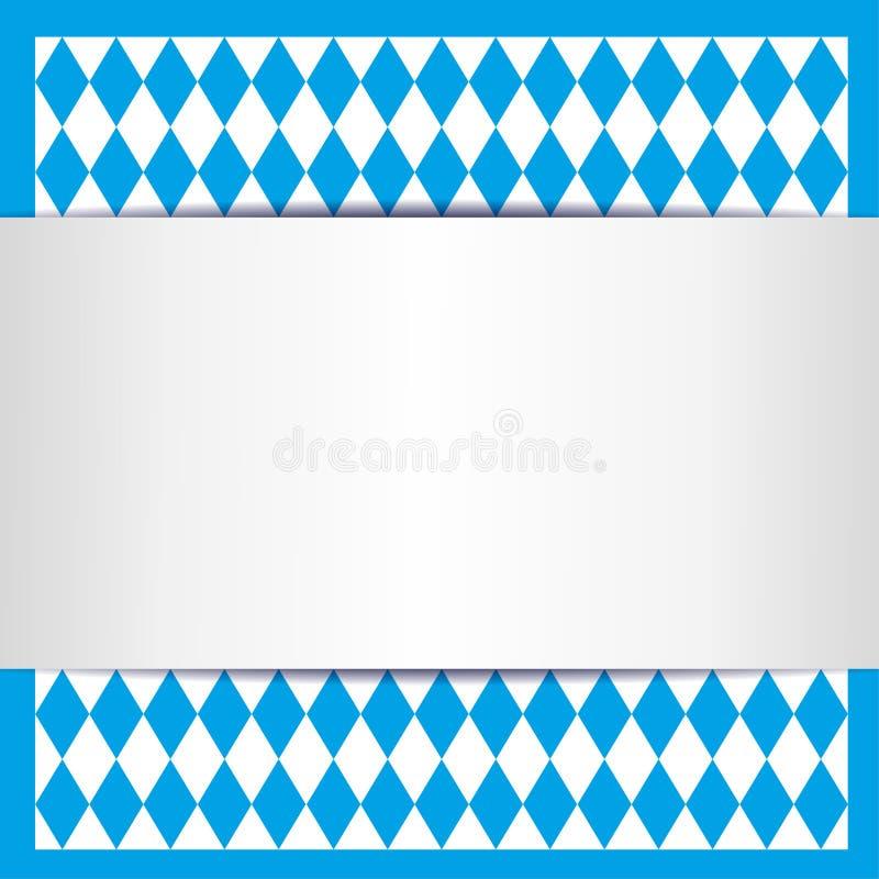 Bavarian card. Blue white bavarian card background stock illustration