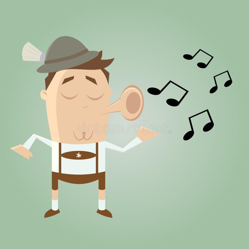Bavarian cartoon man is singing. Illustration of a singing bavarian cartoon man vector illustration