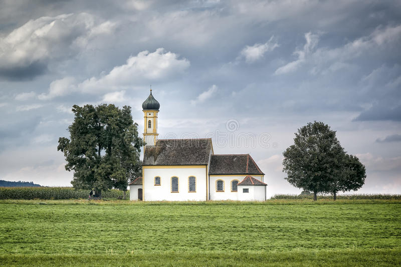 Bavarian church. An image of a nice church at Raisting Bavaria Germany royalty free stock photography