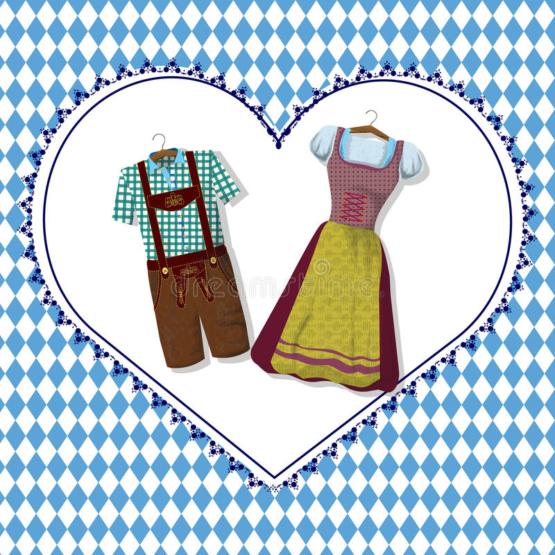 Bavarian clothing Dirdle and Lederhosen vector illustration