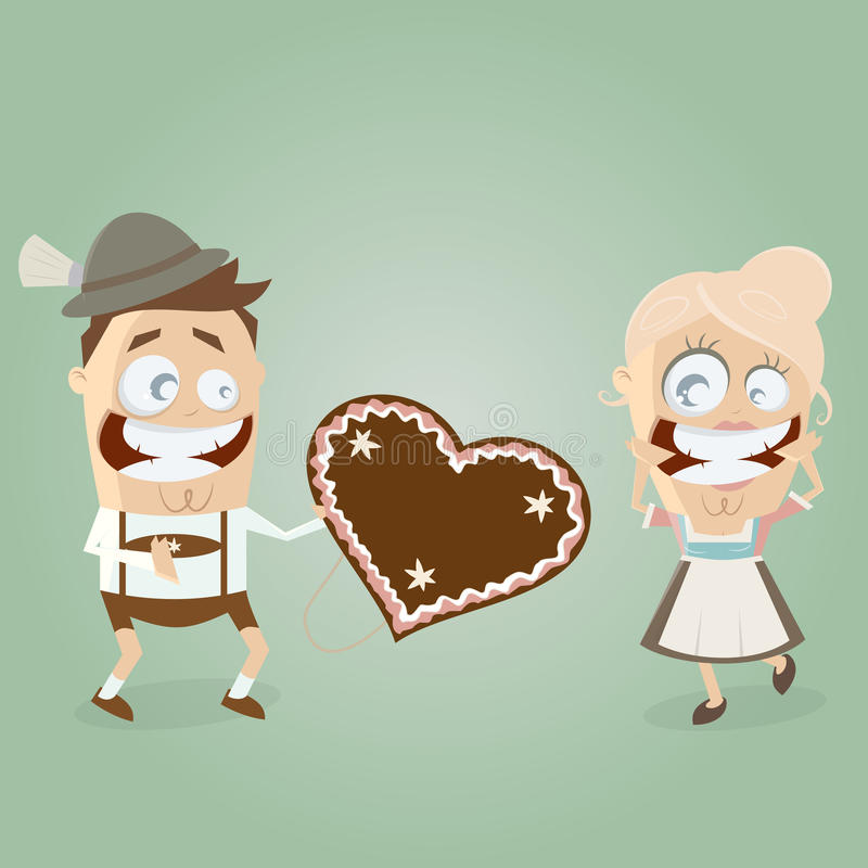 Bavarian couple. Bavarian admirer gives a gingerbread heart to his girl vector illustration