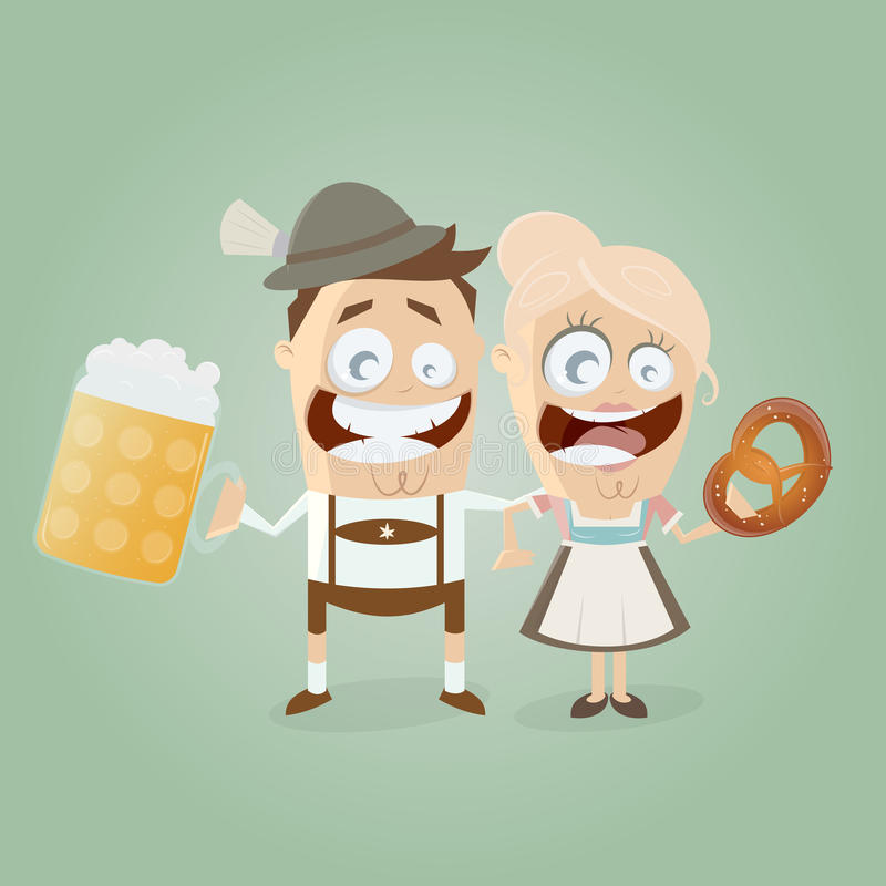 Bavarian couple with beer and pretzel. Illustration of a bavarian couple with beer and pretzel royalty free illustration