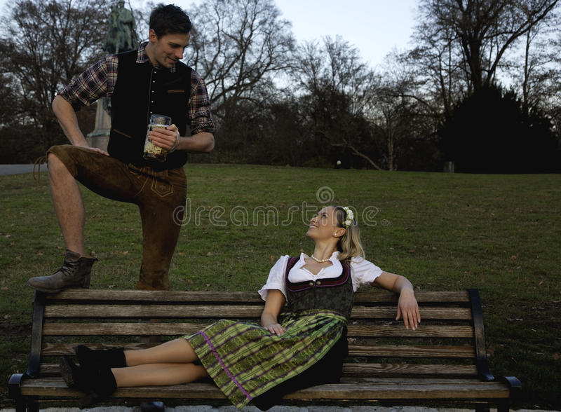 Bavarian Couple. Flirting with each other