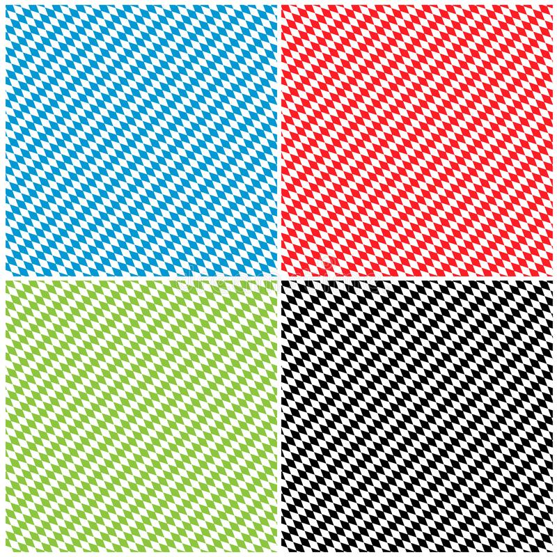 Bavarian Diamond Pattern Texture Background Set - Rhombus. Bavarian Diamond Pattern Texture Background Set in Different Color - Rhombus in Blue, Red, Green and royalty free illustration