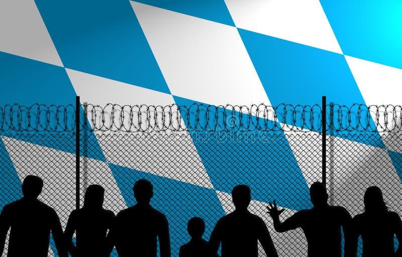 Bavarian Flag Behind Secure Fence stock illustration