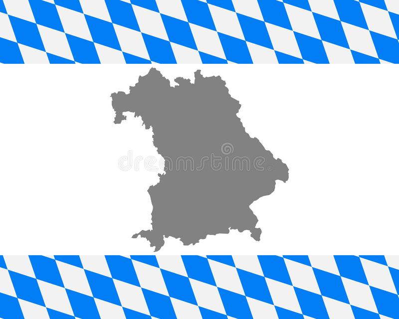 Bavarian flag and map. Detailed and accurate illustration of bavarian flag and map royalty free illustration