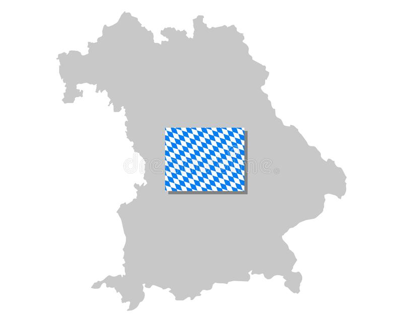 Bavarian flag and map. Detailed and accurate illustration of bavarian flag and map vector illustration