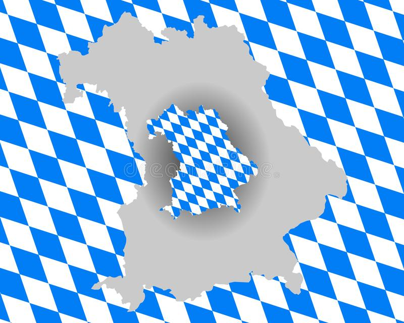 Bavarian flag and map. Detailed and accurate illustration of bavarian flag and map stock illustration