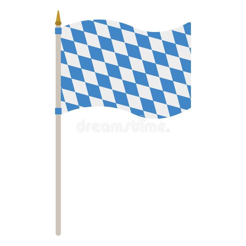 Bavarian Flag. Waving Bavarian flag isolated on white background stock illustration