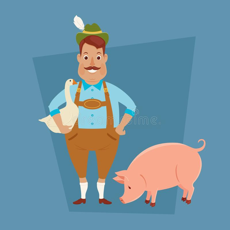 Bavarian/German man with goose and pig. Vector art stock illustration