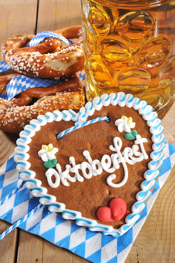Bavarian gingerbread heart with beer royalty free stock photo