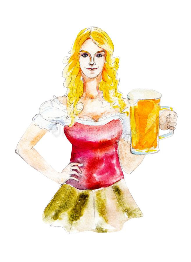 Bavarian girl with beer mug isolated on white background, hand-drawn watercolor octoberfest illustration. royalty free illustration