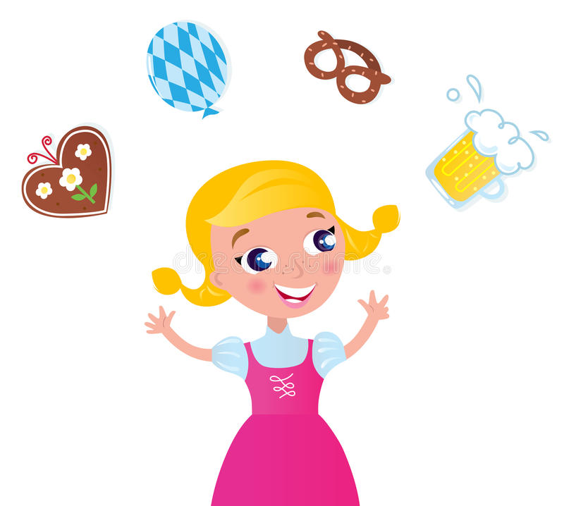 Bavarian girl in pink dress. Cute blond bavarian girl with accessories isolated on white. Vector Illustration royalty free illustration