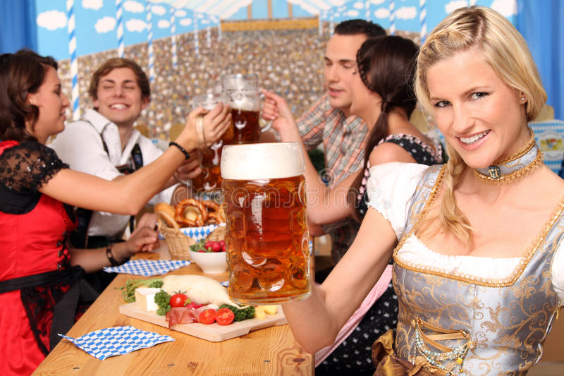 Bavarian group with beer stock images