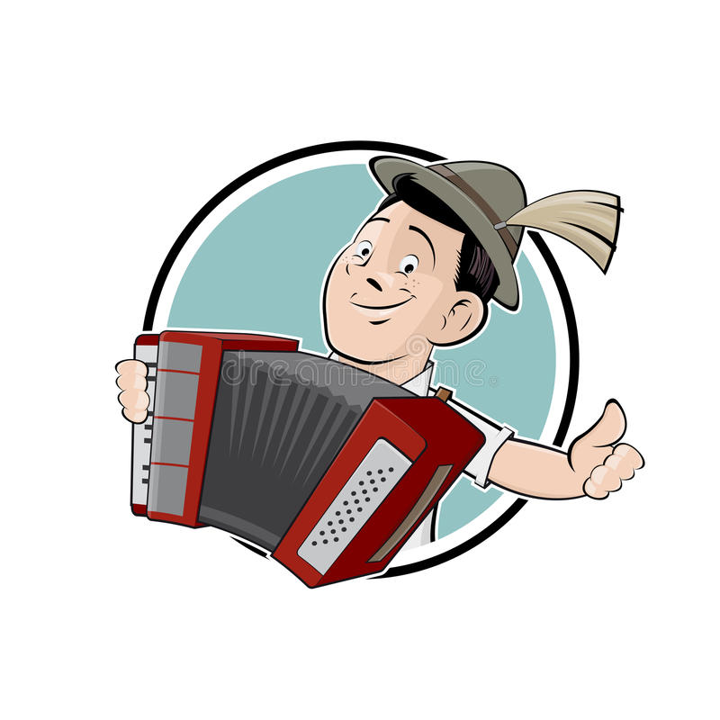 Bavarian guy with accordion. Clipart of a bavarian guy with accordion vector illustration