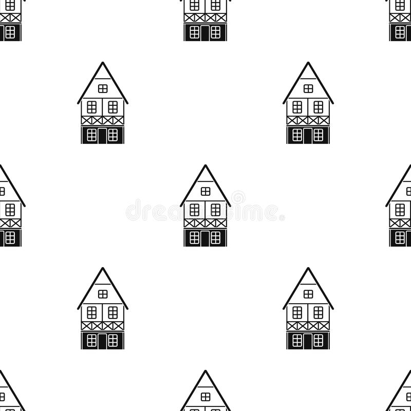 Bavarian house icon in black style isolated on white background. Oktoberfest pattern stock vector illustration. Bavarian house icon in black style isolated on stock illustration