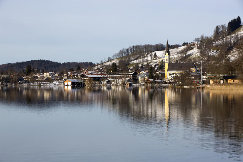 Bavarian lake Schliersee with blue sky in winter stock photography