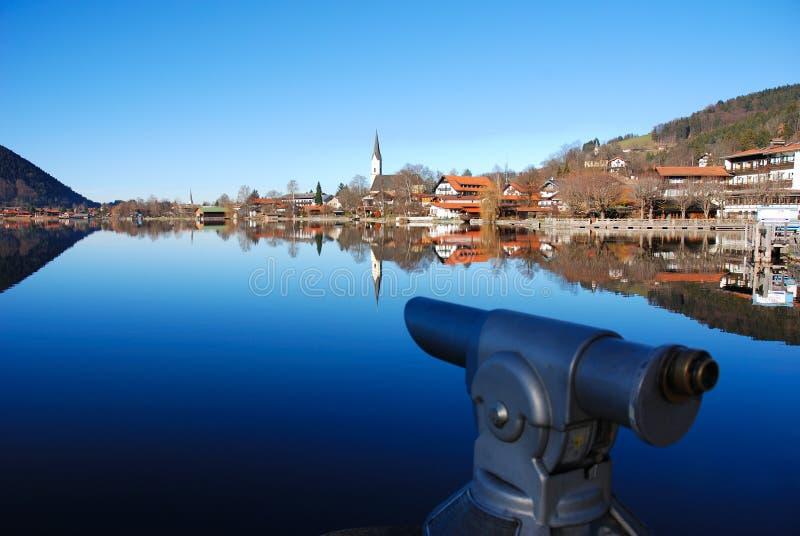 Bavarian lake and spyglass stock images
