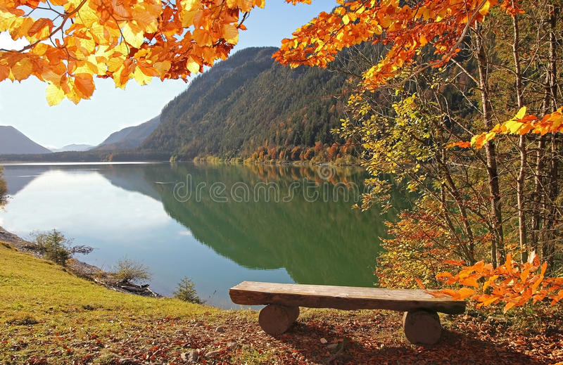 Bavarian lake sylvenstein in autumn. Panoramic view to lake sylvenstein, wooden bench at a viewpoint, beautiful autumnal bavarian landscape royalty free stock photo