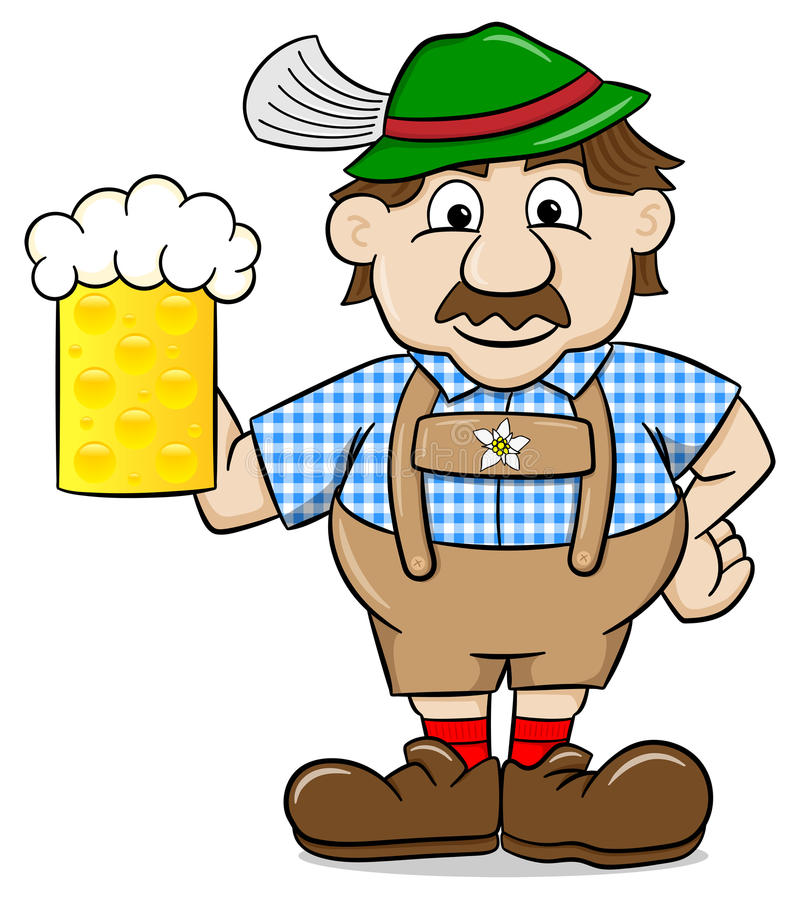 Bavarian in leather pants with beer mug. Vector illustration of a bavarian in leather pants with beer mug vector illustration