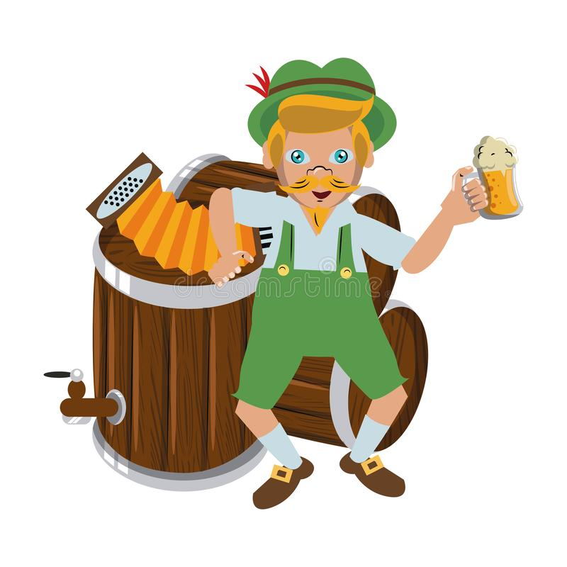 Bavarian man with accordion and beer. Vector illustration graphic design royalty free illustration