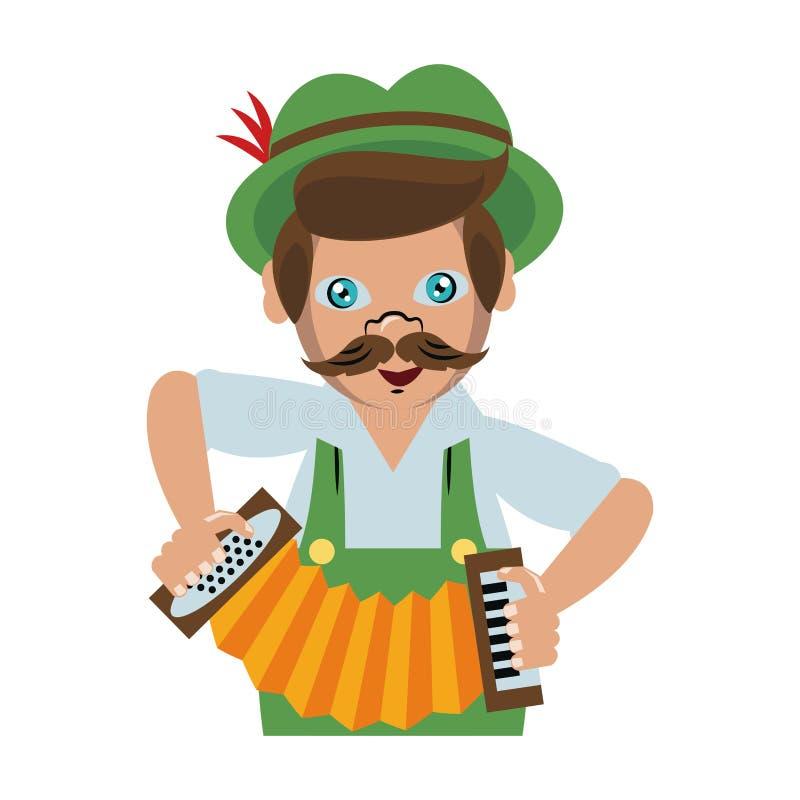 Bavarian man with accordion. Vector illustration graphic design royalty free illustration