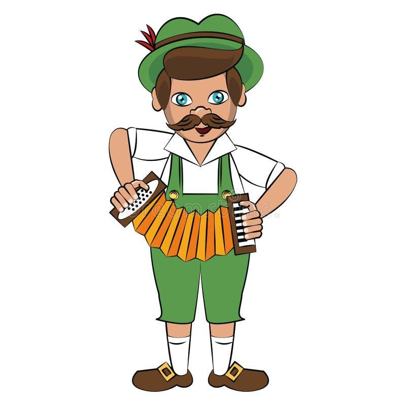 Bavarian man with accordion. Vector illustration graphic design stock illustration
