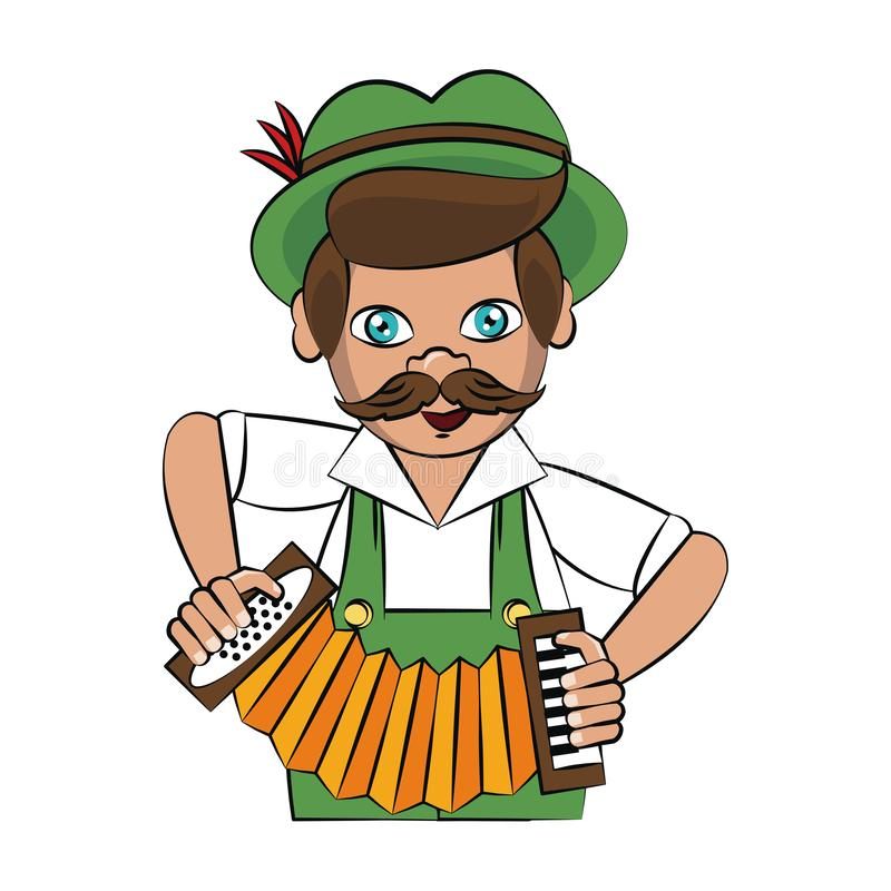 Bavarian man with accordion. Vector illustration graphic design vector illustration