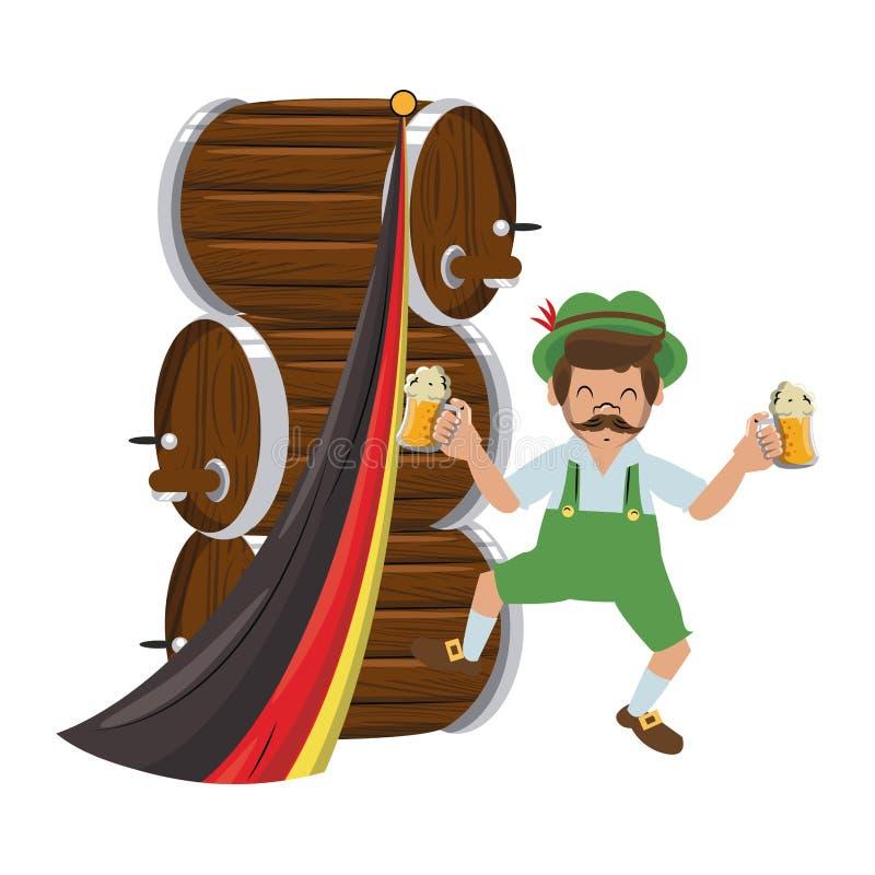 Bavarian man with beer barrels. Vector illustration graphic design stock illustration