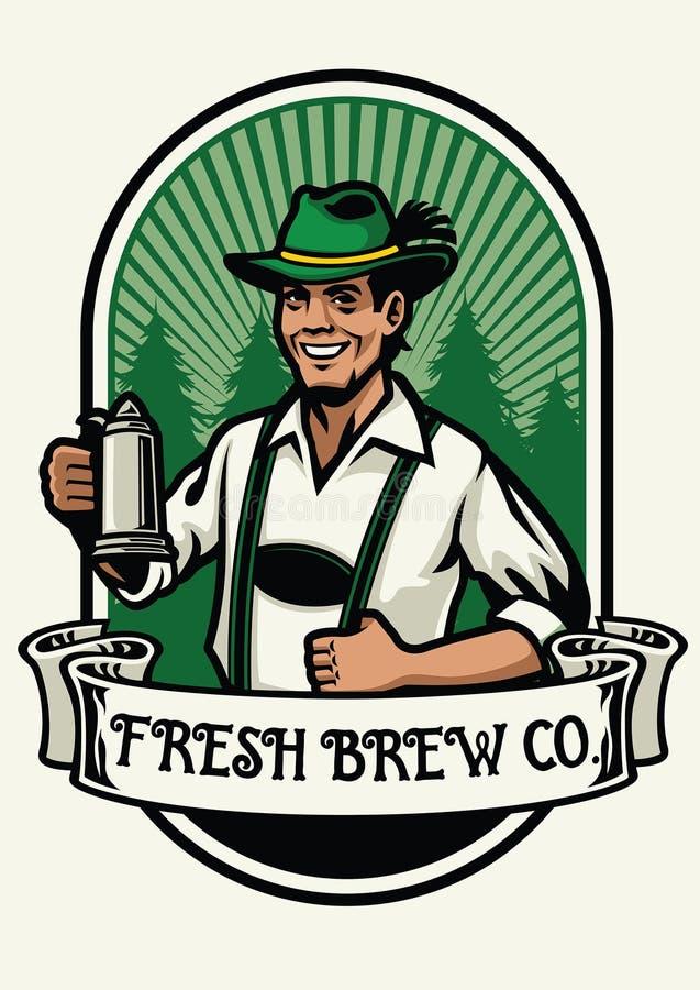 Bavarian man beer brewing badge. Vector of bavarian man beer brewing badge vector illustration