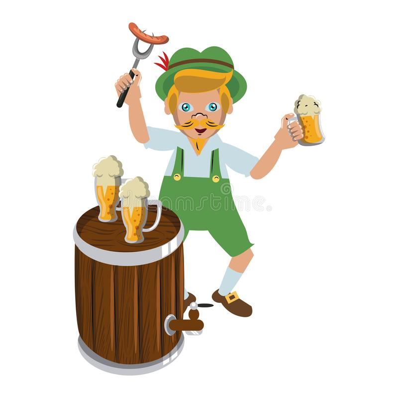 Bavarian man with beer cups and sausage. Bavarian mens with barrel and trumpet vector illustration graphic design royalty free illustration