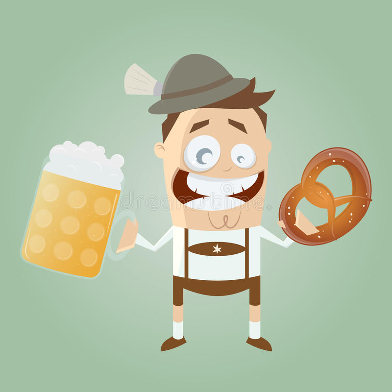 Bavarian man with beer and pretzel. Illustration of a bavarian man with beer and pretzel stock illustration