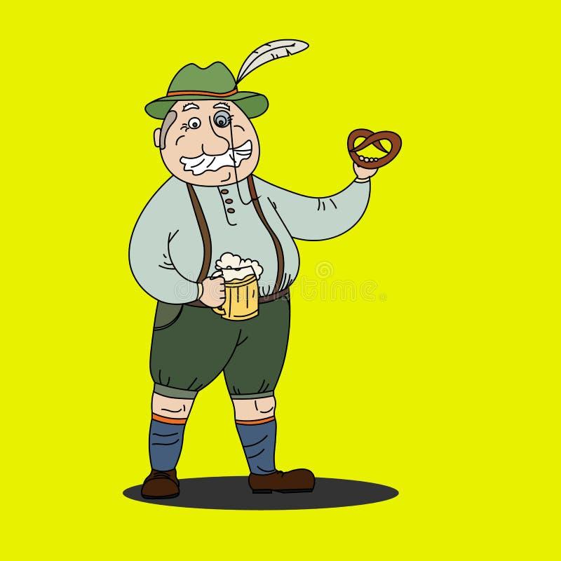Bavarian man with beer and pretzel at Oktoberfest.  vector illustration