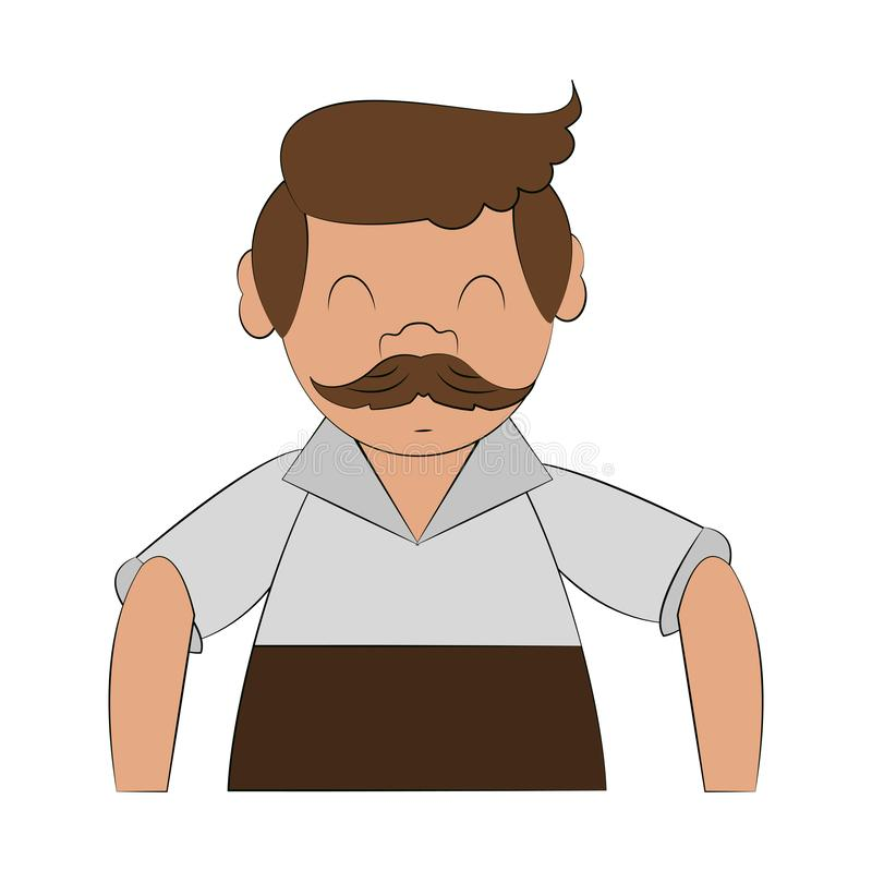 Bavarian man cartoon. Bavarian man with mustache cartoon vector illustration graphic design royalty free illustration