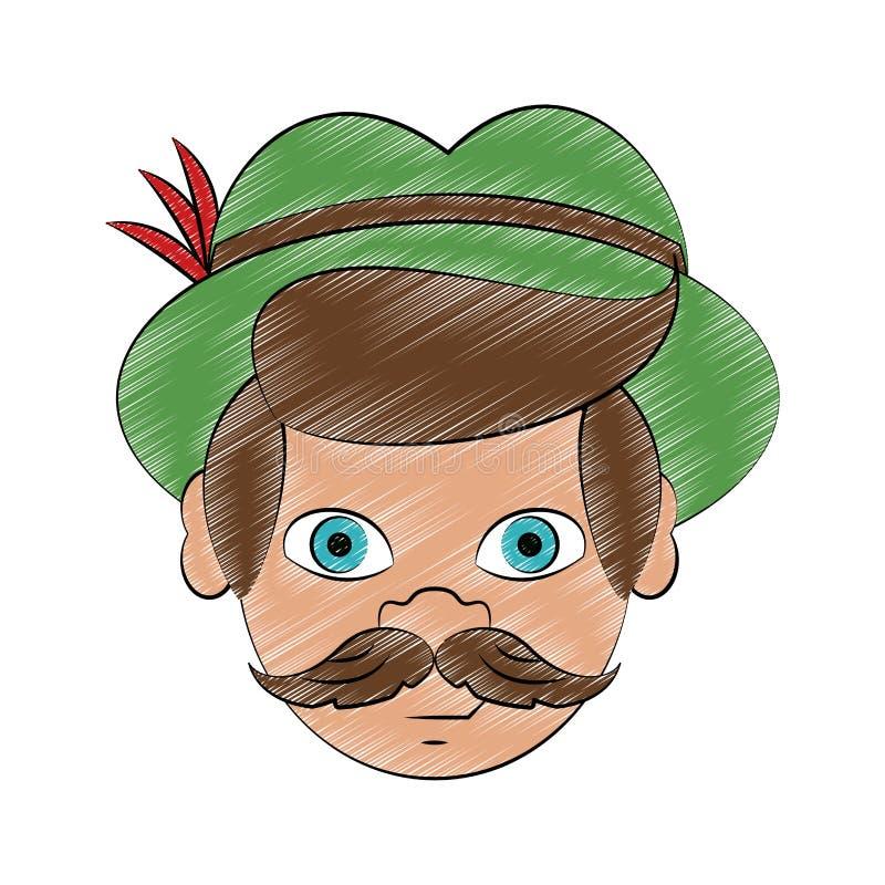 Bavarian man cartoon scribble. Bavarian man face with hat cartoon vector illustration graphic design royalty free illustration