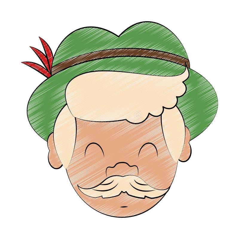 Bavarian man cartoon scribble. Bavarian man face with hat cartoon vector illustration graphic design vector illustration