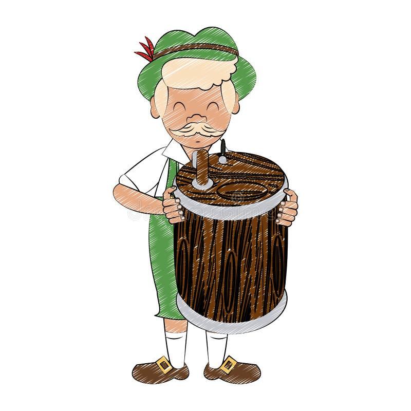 Bavarian man cartoon scribble. Bavarian man holding beer barrel cartoon vector illustration graphic design stock illustration