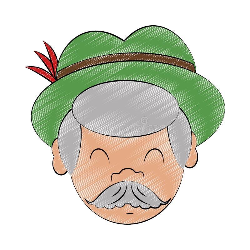 Bavarian man cartoon scribble. Old Bavarian man face with hat cartoon vector illustration graphic design stock illustration