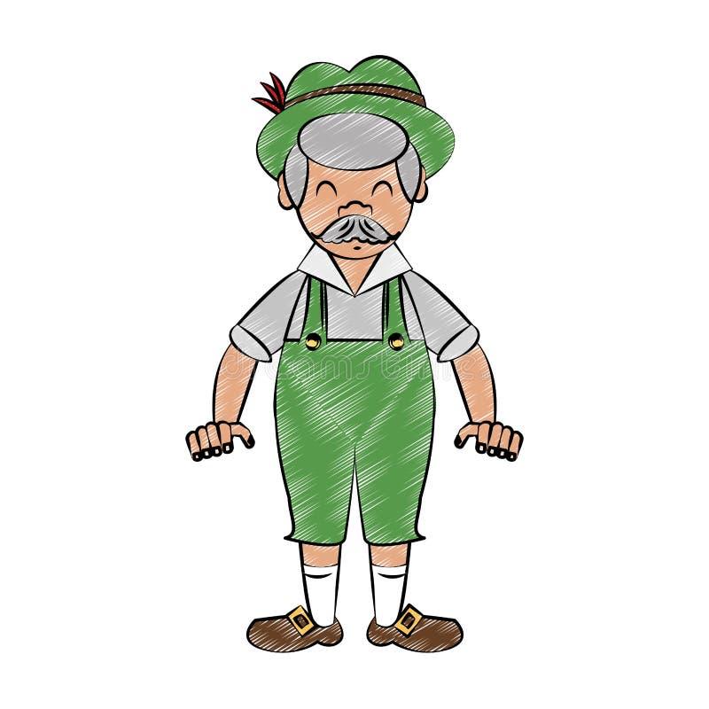 Bavarian man cartoon scribble. Bavarian man smiling cartoon vector illustration graphic design royalty free illustration