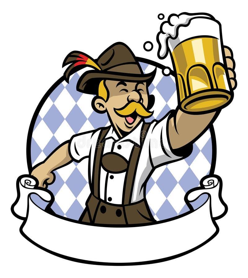 Bavarian man celebrating oktoberfest with a big glass of beer. Vector of bavarian man celebrating oktoberfest with a big glass of beer stock illustration