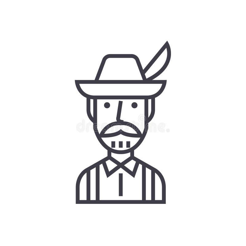 Bavarian man concept vector thin line icon. Sign, symbol, illustration on isolated background stock illustration