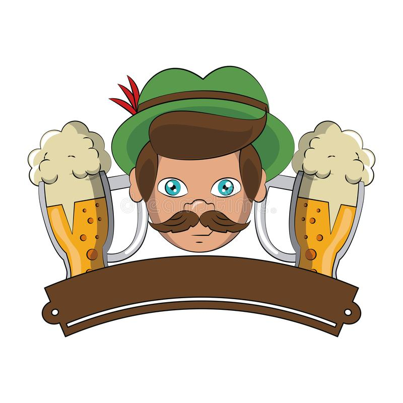 Bavarian man face with beer cups and ribbon banner. Vector illustration graphic design vector illustration