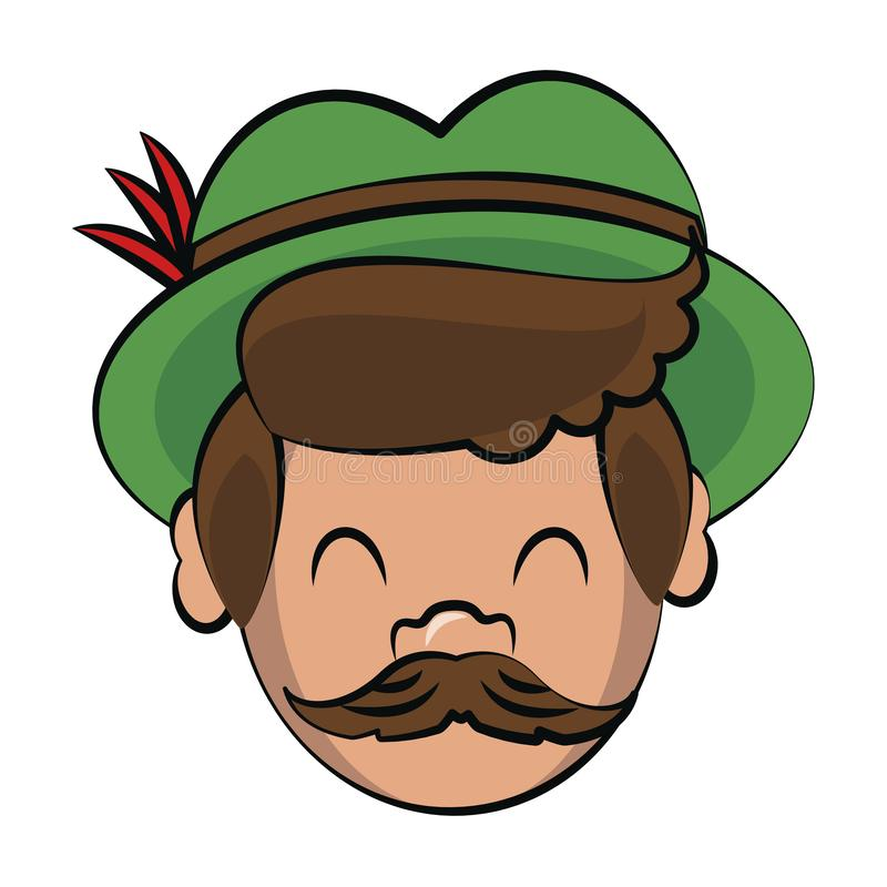 Bavarian man face cartoon. Vector illustration graphic design royalty free illustration