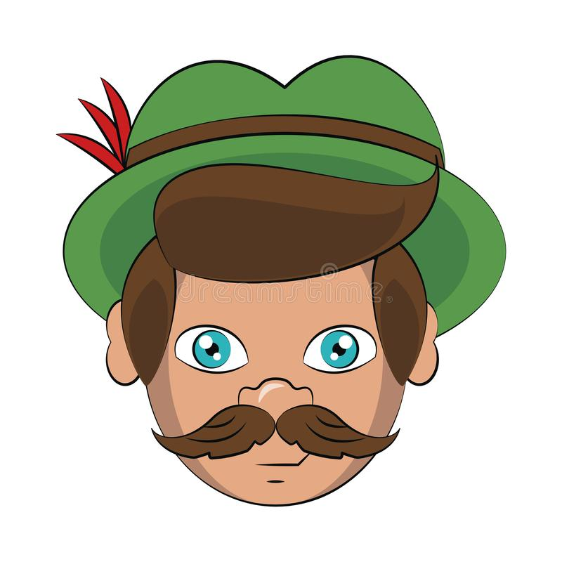 Bavarian man face cartoon. Vector illustration graphic design stock illustration
