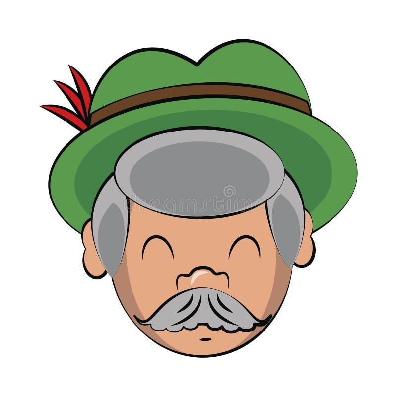 Bavarian man face cartoon. Vector illustration graphic design vector illustration