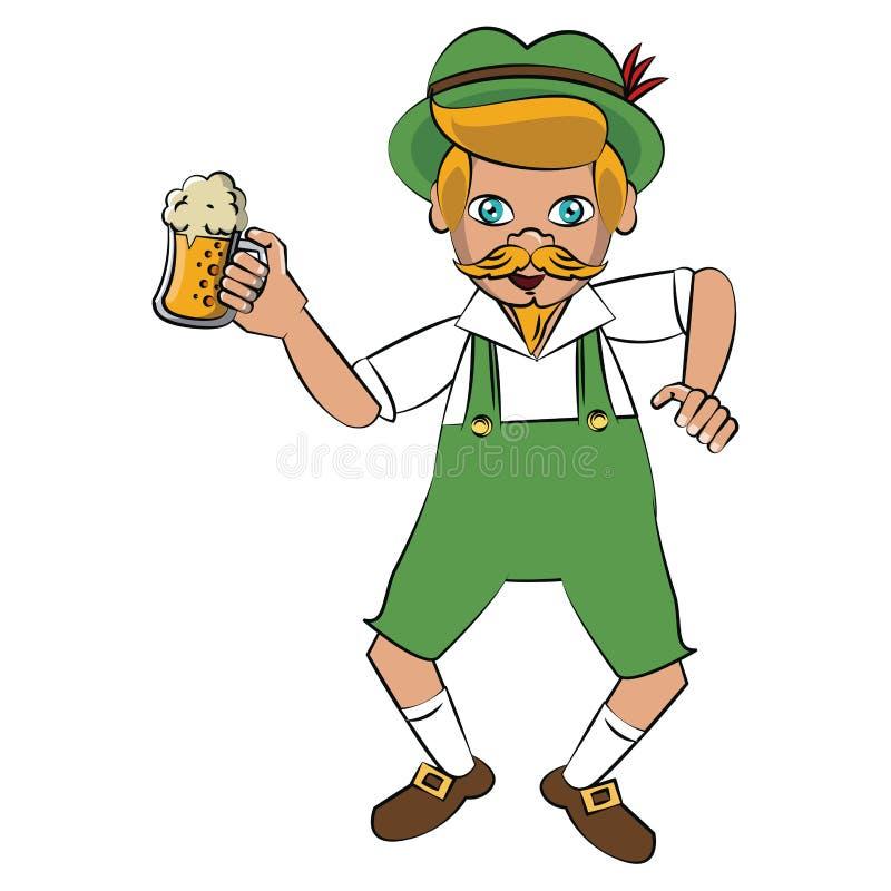 Bavarian man holding beer cup. Vector illustration graphic design stock illustration