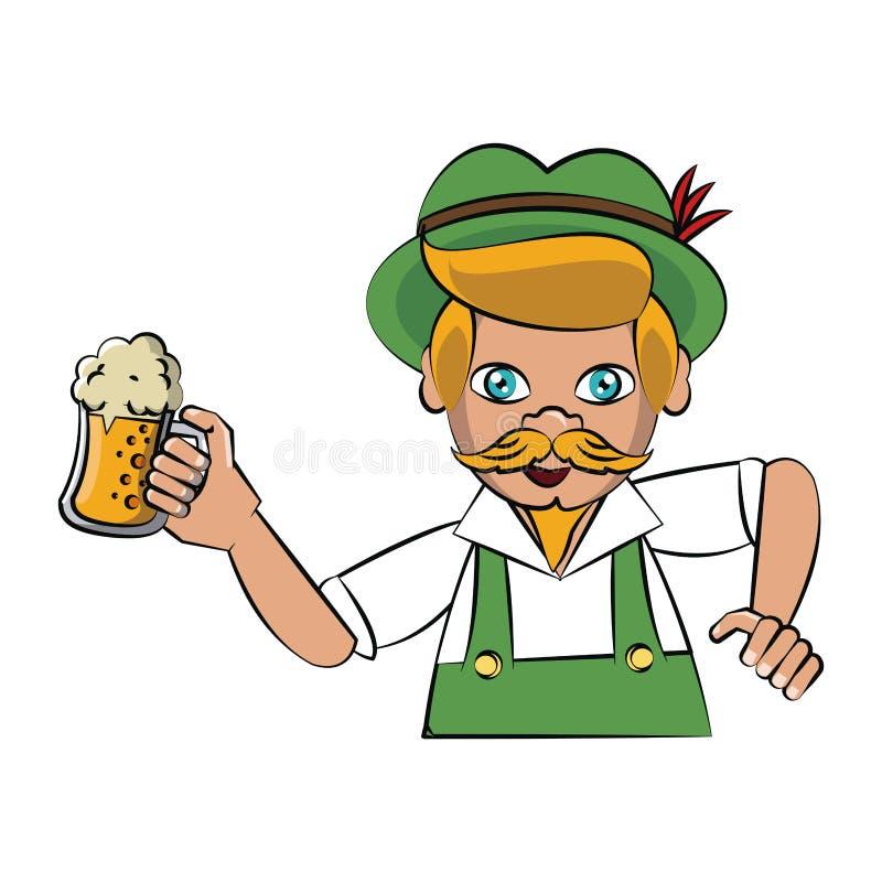 Bavarian man holding beer cup. Vector illustration graphic design royalty free illustration